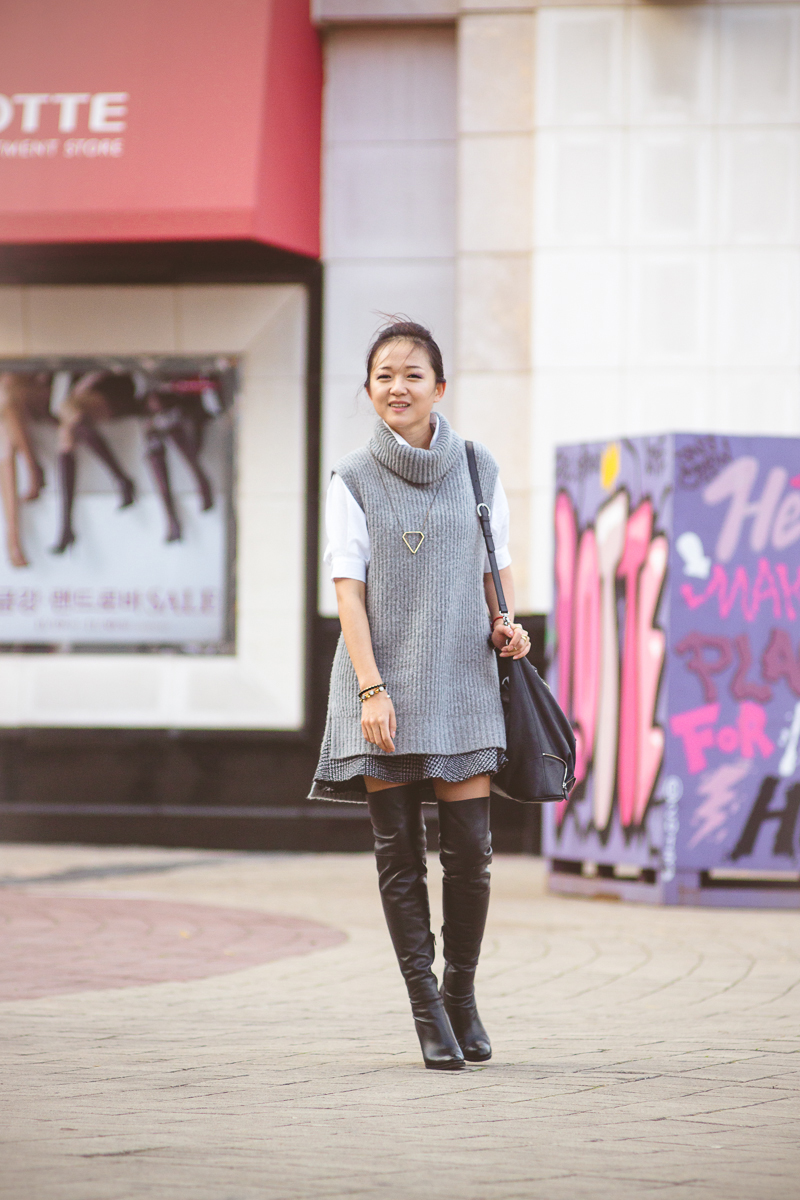 встреча с Olga Choi, встреча с Ольгой Цой, Корея, Ульсан, фешн блоггер, ботфорты, юбка-преппи, юбка преппи, аксессуары, жемчуг, бижутерия