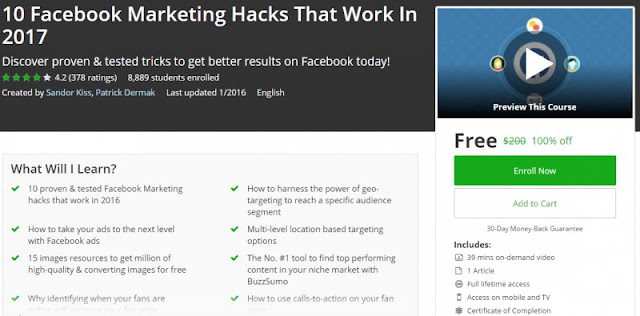 [100% Off] 10 Facebook Marketing Hacks That Work In 2017 | Worth 200$