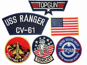 Top Gun sew-on/iron-on embroidered badges tags