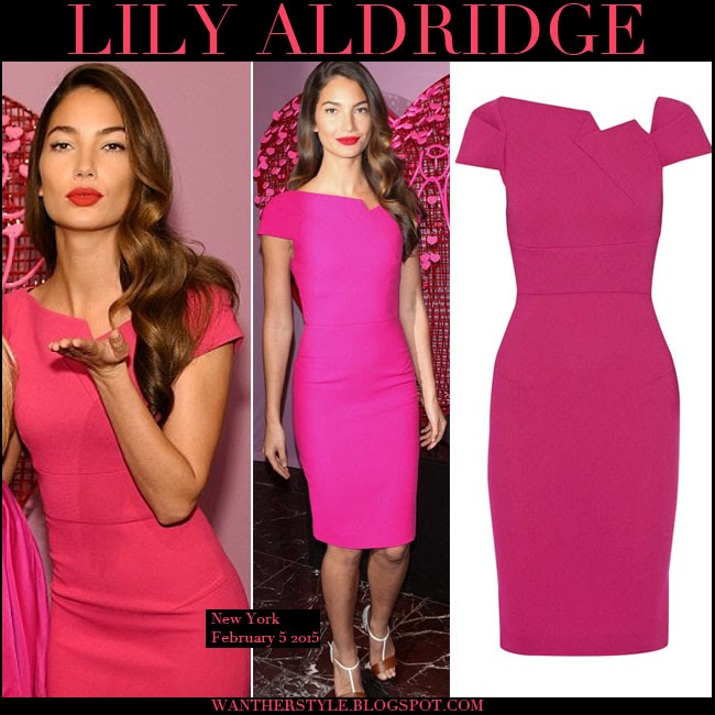 Lily Aldridge In Bright Pink Midi Dress By Roland Mouret Want Her Style February 5