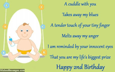Happy Birthday wishes for baby: takes away my blues a tender touch of your tiny finger melts away my anger