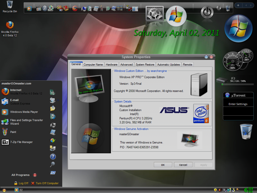 Download Windows XP Pro SP3 Gold Cobra Edition Full ...