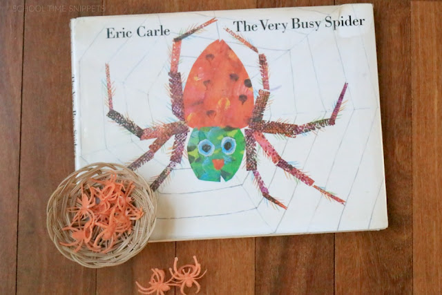 Practice counting {and more math skills} with plastic spider rings!