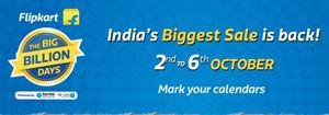 Flipkart Online Big Billion Day sale from 2nd to 6th October, 2016