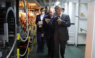 President Putin aboard the Pioneering Spirit construction vessel. With Gazprom CEO Alexei Miller.