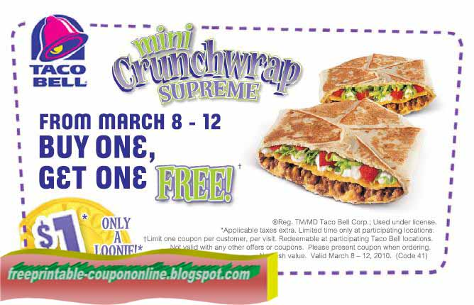 image regarding Taco Bell Printable Coupons titled Absolutely free taco bell coupon codes printable 2018 / Couple of coupon ebook