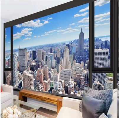 Mural wallpaper for home 3d New York city photo wallpaper window view landscape living room bedroom