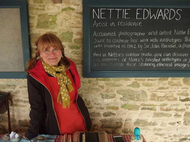 Nettie Edwards in her temporary studio at Lacock Abbey