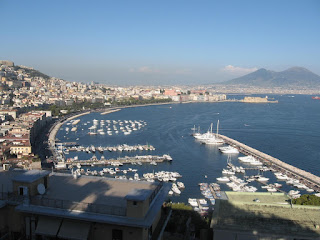The waterfront at Mergellina, with Vesuvius in the distance