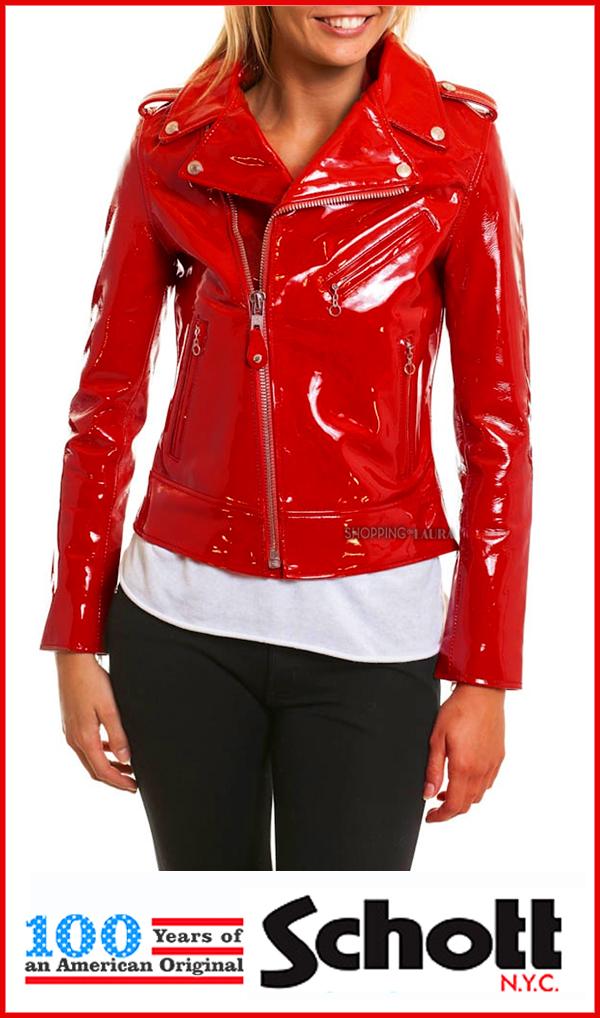Perfecto femme cuir rouge vernis LCW 1601 E de SCHOTT