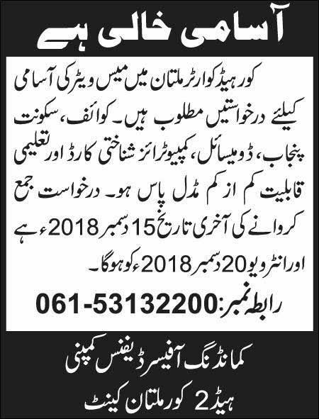 Jobs in Core Headquarter Multan 13 December 2018