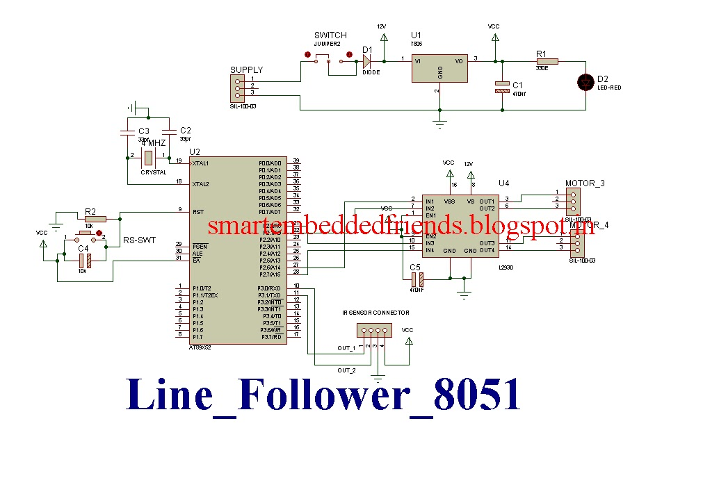 Line following robotic vehicle using 8051 microcontroller smart circuit diagram pcb layout of line follower robot using 8051 microcontroller ccuart Choice Image