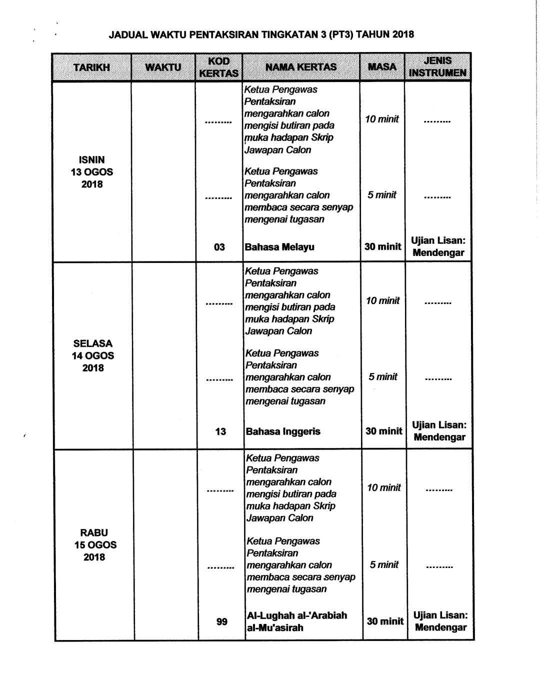 Jadual Waktu Peperiksaan Pt3 2019 Pendidikan Malaysia