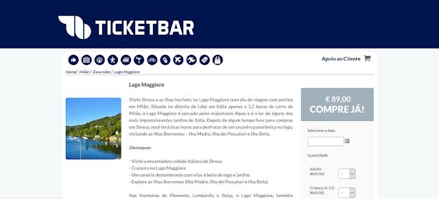 Ticketbar para ingressos para o Lago Maggiore em Milão
