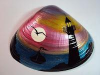 Manualidades : conchas pintadas a mano FARO DE NOCHE