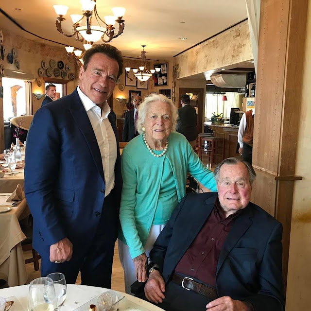 Arnold Schwarzenegger, President Bush and Barbara