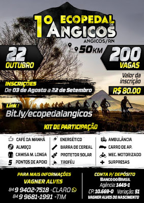 Os Trilheiros de Angicos, tem o prazer de promover o 1º ECOPEDAL de Angicos/RN. O evento ocorrerá n