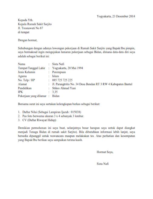 Contoh Surat Lamaran Baik Dan Benar - Gamis Murni