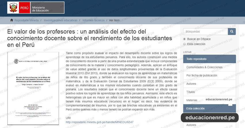 EL VALOR DE LOS PROFESORES: Análisis del efecto del conocimiento docente sobre el rendimiento de los estudiantes en el Perú - DESCARGAR .PDF - MINEDU - www.minedu.gob.pe