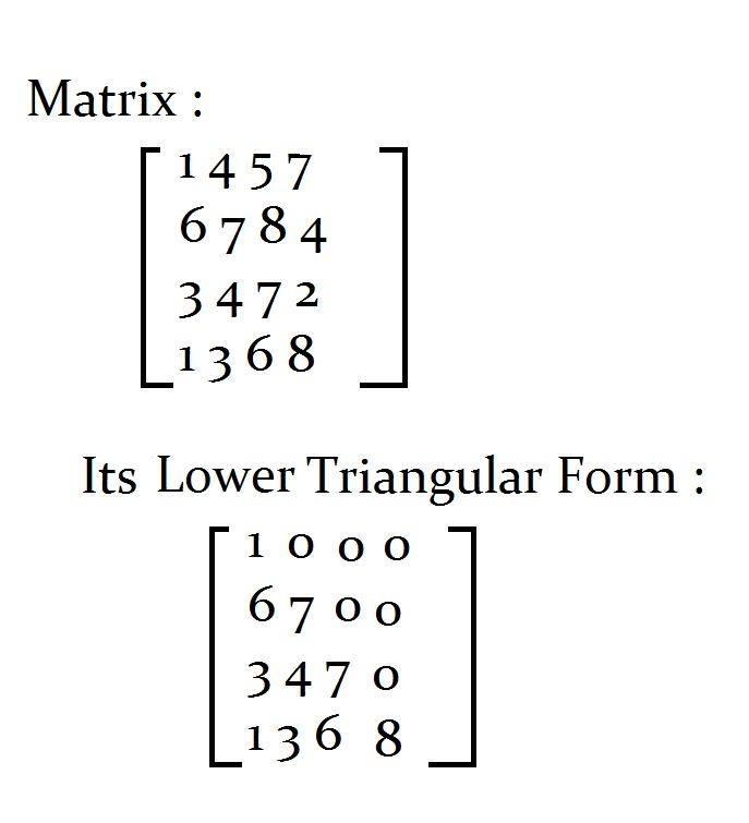 Java Programs: Java Program to find the lower triangular