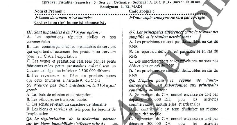 Examen de la fiscalit session ordinaire 2014 2015 prof el madi fsjes4you - Plafond salaire imposable ...