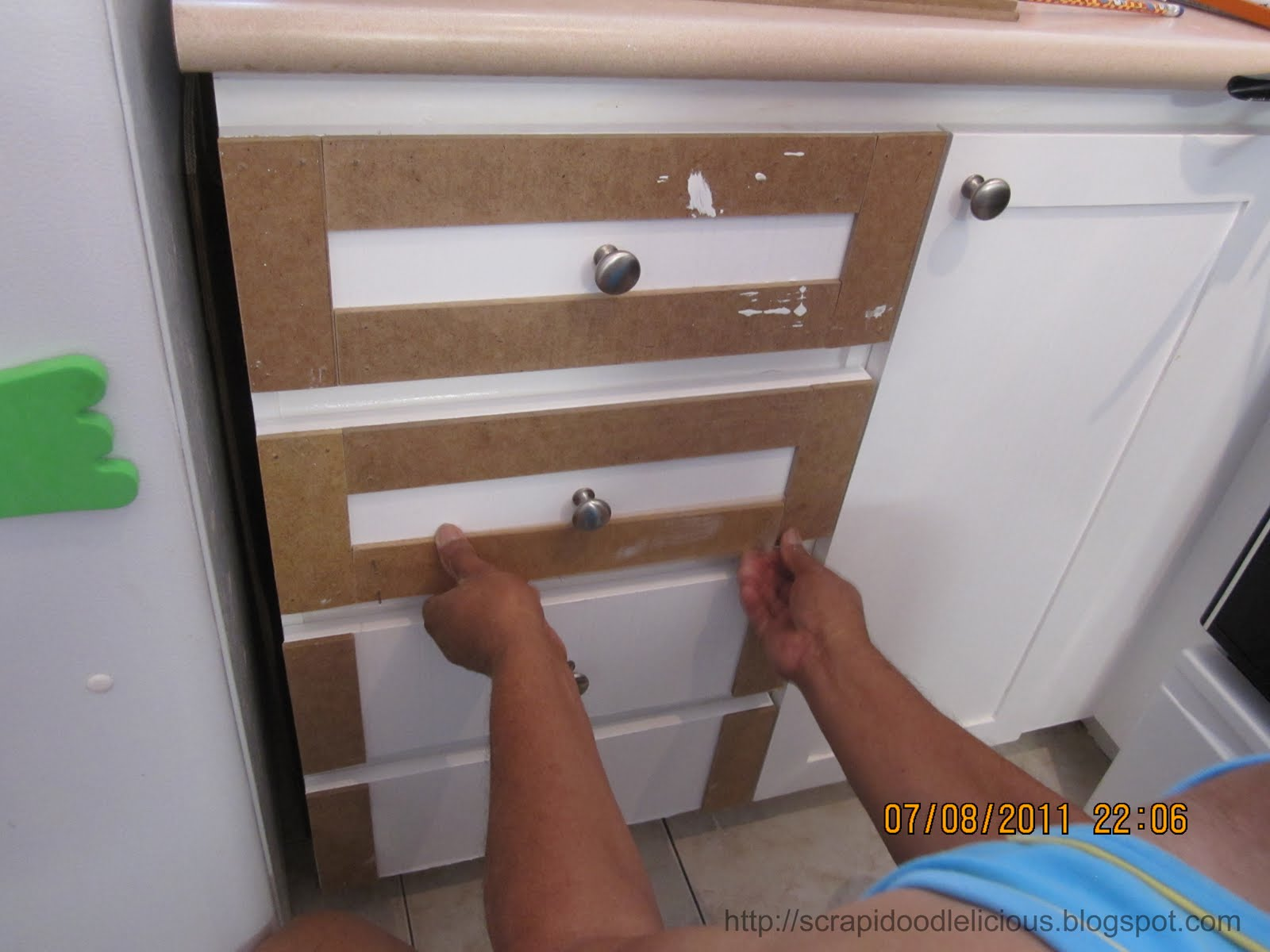 Sand It Attach To The Sides Of Cabinet Door I Used Nails Instead Wood Glue Make Sure Will Not Fall In Future