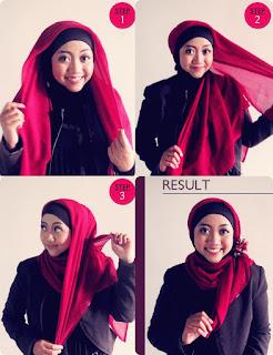Tutorial jilbab wajah bulat dengan gambar