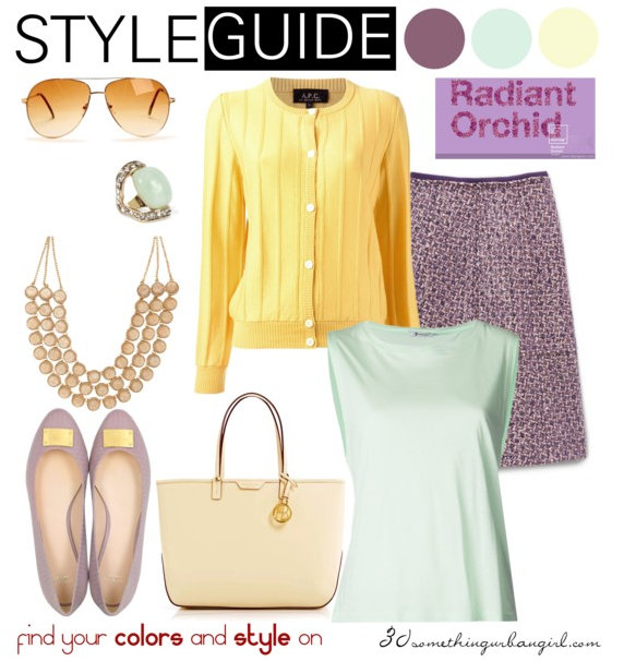 charming and soft outfit with Radiant Orchid for Soft Autumn