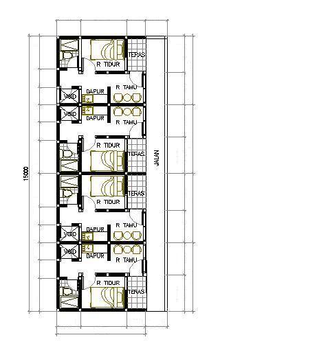 gambar denah rumah petak 3