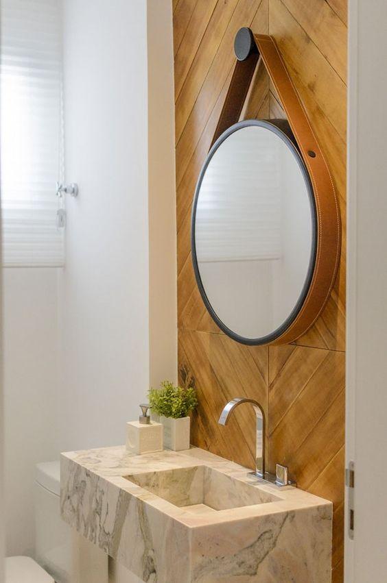 Decoração banheiros e lavabos com espelhos redondos!  Jeito de Casa  Blog  -> Pia Dupla Banheiro Tamanho