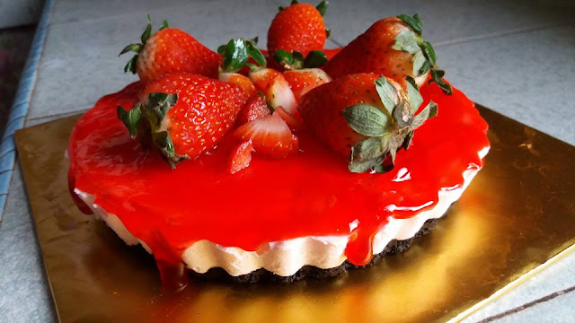 resepi strawberry cheese cake