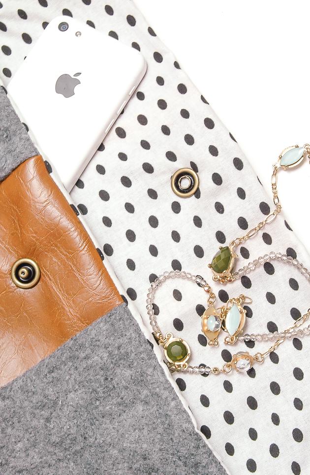 DIY felt and lather purse