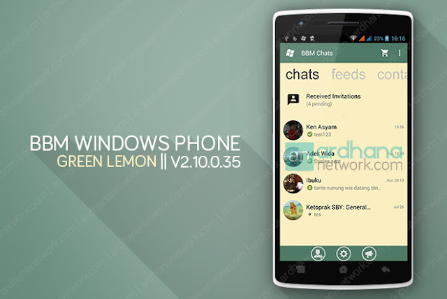 BBM Windows Phone Green Lemon V2.10.0.35