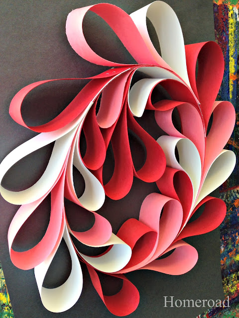 pink, red, and white paper heart wreath