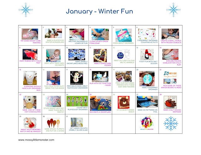 Kids Activity Calendars  Messy Little Monster