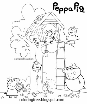George Pig baby sweet Candy Cat easy garden tree house coloring pages Peppa Pig sketch print off art