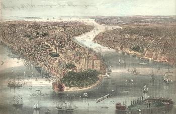New York um 1860 - Ansichtskarte