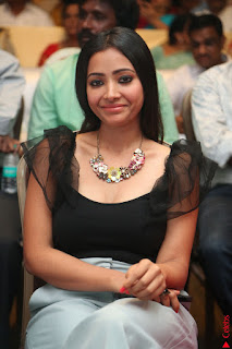 Swetha Basu in a Black Sleeveless Top Long Skirt at Mixture Potlam Movie Audio Launch 024.JPG