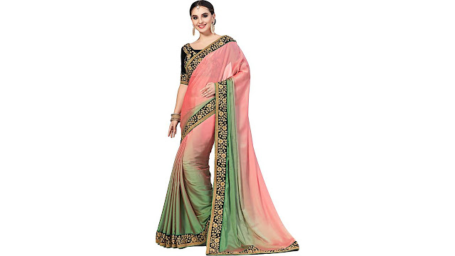 M.S.Retail Embroidered Bollywood Shimmer Fabric, Net Saree  (Multicolor)
