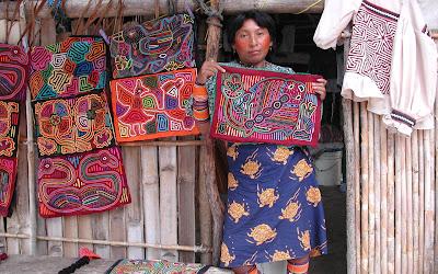 Mola art Kuna woman