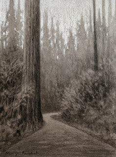 Charcoal drawing of scene from Dalhousie on toned paper. By Manju Panchal