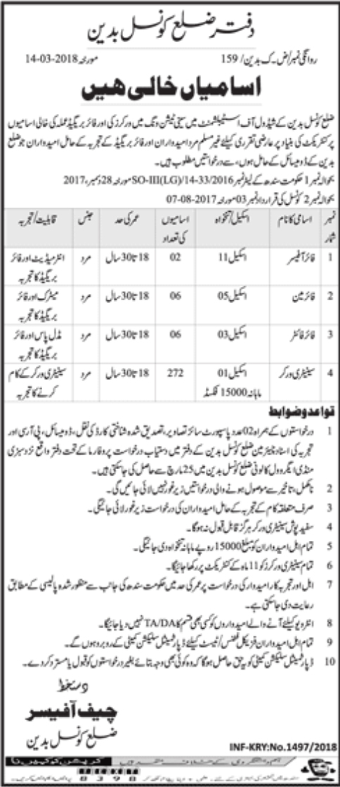 Jobs In District Council Badin Govt of Sindh 2018 for 286 Vacancies