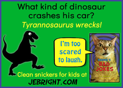 What kind of dinosaur crashes his car? Tyrannosaurus wrecks! Clean snickers for kids at jebright.com. Bernie says: I'm too scared to laugh.