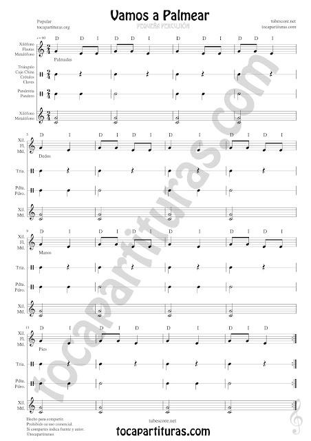 Partitura Jpg de Vamos a Palmear para Xiolófonos, Metalófonos, Flauta, Carrillón, Pandero, Pandereta, Triángulo, Crótalos, Claves, Caja China y cualquier instrumento de Percusión. Sirve para montajes de Flauta - Percusión en Audiciones de Música y Fiestas de Fin de Cursos en la Escuela