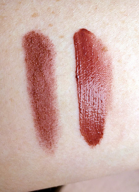 Swatches of Urban Decay Vice Lipstick in Accident and Urban Decay Revolution Lip Gloss in Shadowheart