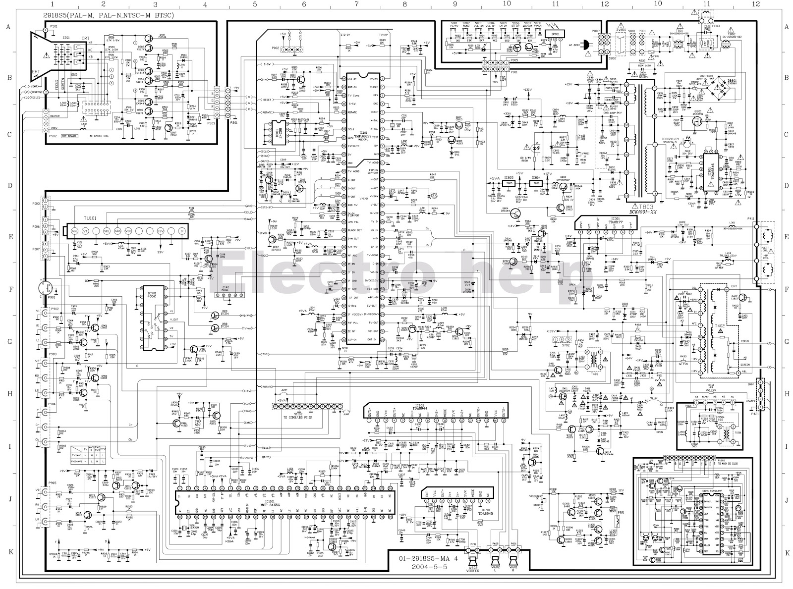 hight resolution of used ics 24c08 tmpa8829 4052 msp34x5g tda8944 tda8945 tc90a49p manguonblog colour tv kit circuit diagram