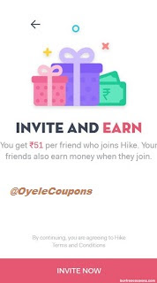Hike app referral offer