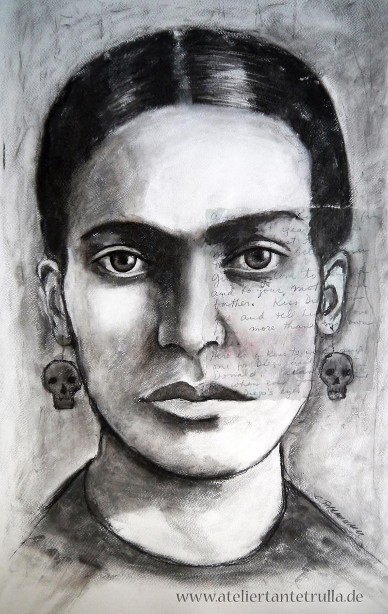 Kohlezeichnung Frida Kahlo