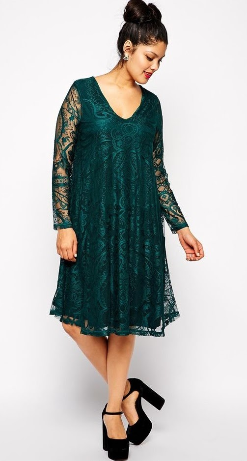9e3fd6ec80f0 Asos Curve at Asos. Swing Dress In Lace With Deep V & Sleeve In Longer  Length