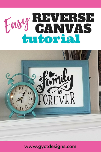 Follow along with this easy DIY step by step tutorial on how to make a reverse canvas using vinyl and cutting on your Cricut Maker or Silhouette cutting machine. #cricutproject #reversecanvas #crafting